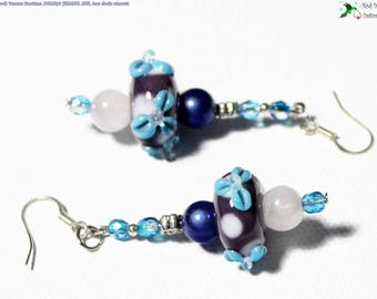 Blue earrings, pearls of art spun with torch