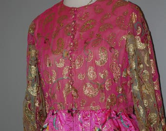 """60s Oscar de la Renta, Couture, Gown, Pink and Gold, Paisley, Overlay, Full Length, Size M, 38"""" B, 30"""" W"""