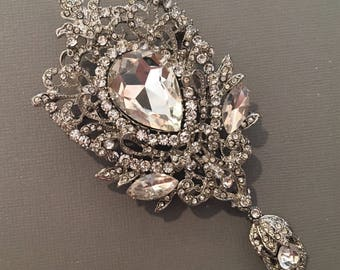 Huge Rhinestone Brooch elegant design in silver with clear crystal can be worn as a pendant or pin wedding bridal mother if the bride