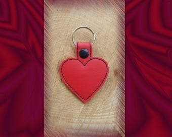 Red Heart Embroidered Key Fob, Key Chain, Luggage Tag, Bag Clip, Vinyl, Key Ring, Purse Charm