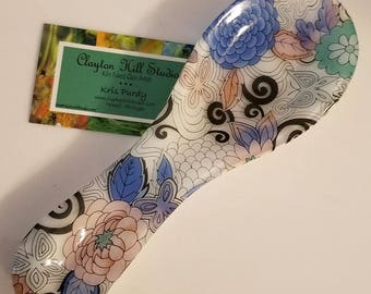 Fused Glass Spoon Rest - Funky Flowers