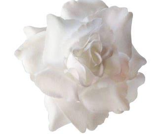 White Rose flower Hair Clip 4 Inch.