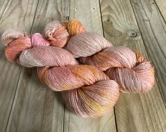 Banshee Tussah Silk Lace Yarn. Peach Party