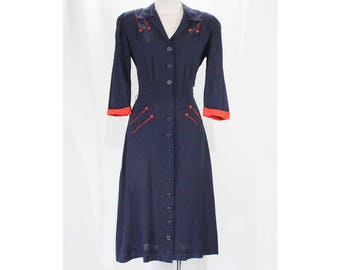 Size 10 1940s Dress - Navy Blue & Red WWII Era 40s Day Dress with Arrows Embroidery - Short Sleeve 1940's Dress - Waist 29 - 49216