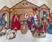Nativity Fabric Panel to Make Stable and Stuffed Fabric Figures X0871