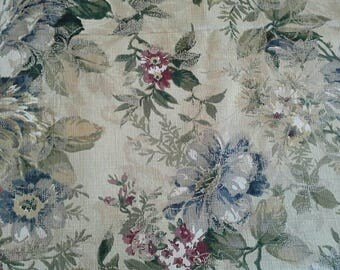 Heavy Floral Decorator Fabric Tans, Dark Red and Blue on Natural Background 2 Yards X0950