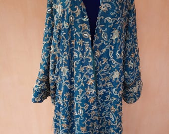 Pure crep georgette silk kaftan. Hand embroidered kaftan, silk cardigan, silk robe, bohemian kaftan, tribal kaftan