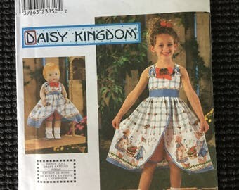 Simplicity 9166 Daisy Kingdom Girls Sundress Shorts and Doll Clothes Sewing Pattern Size 3-6 UNCUT