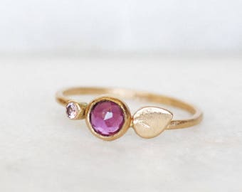 Garnet Sapphire Petal Ring - Bloom Ring in 14k Gold - Choose 1.3mm or 1.6mm Band