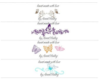 Printable Fancy Butterfly Cochet Landscape Labels Wraps for dish cloths, wash cloths, baby items, scarf PDF Personalized