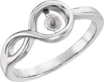 Ring Mounting for 7mm Pearl in Sterling Silver or 14k Gold