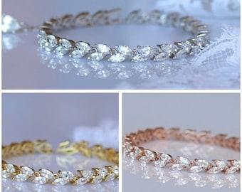 White Gold Bracelet, Rose Gold, Gold, Crystal Bridal Bracelet, Rhodium Tennis Bracelet, Crystal Bridal Jewelry, Wedding Jewelry, HAYLEY