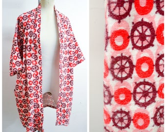 1950s 60s Ships wheel novelty print towelling beach coverup / 1960s 50s red pink purple loose swimwear cover up - S M L