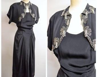 1940s Black rayon silk beaded matador bolero drape evening dress / 40s bead tassel dress jacket suit - S M