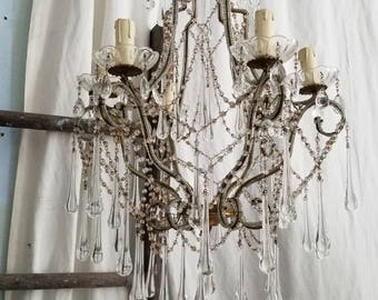 Amazing French Beaded Drippy Candelier
