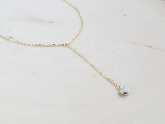 Simple Gold Lariat | Gold Chain Lariat | Gemstone Necklace | Minimalist Jewelry | Dainty Marble Necklace | Tiny Opal Lariat | Gift for Her