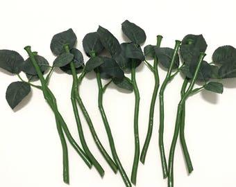 10 SHORT Artificial Flower Stems with Rose Leaves for DIY Wedding Bouquets, Flower Arrangements, Silk Flowers, Artificial Flowers, Millinery