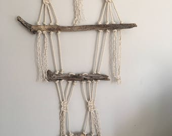 Driftwood and macrame wall hanging