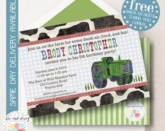 Farm Birthday Invitation, Green Tractor Birthday Invitation, Farm Party, Tractor Party, Boy First Birthday, Birthday Party Invitation