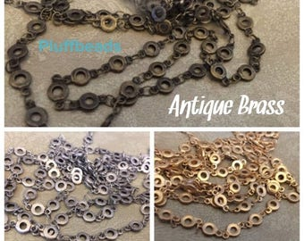 SALE Brand NEW old school Couture Style High Quality about 5mm flat round link chain antique silver, or antique brass, or matte brushed gold