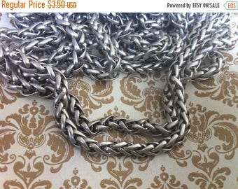 SALE Vintage Style 3mm Woven high quality chain PETITE sturdy Antique silver couture 1 foot