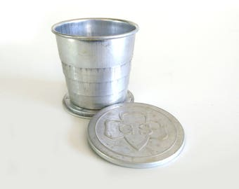 Vintage Girl Scout Cup / Folding collapsible aluminum cup / Vintage Scout Collectible