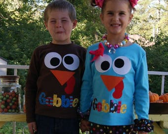 Turkey Face Shirt / Gobble Shirt / Thanksgiving Outfit for Brother Sister / Matching Sibling Shirt Thanksgiving / Shop Special