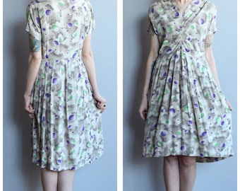 1940s Dress // Out of this World Printed Rayon Dress // vintage 40s dress