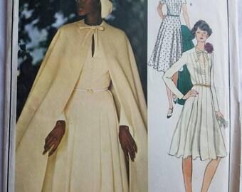 Vintage 70's VOGUE  Paris Original  Pattern 1175 Dress and Cape by Designer NINA RICCI Size 12 Uncut