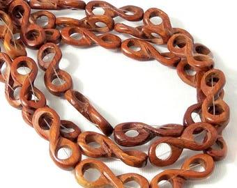 Bayong Wood Link Bead, Infinity Symbol, Natural Wood Bead, 10mm x 28mm, Large, 16 Inch Strand - ID 2344