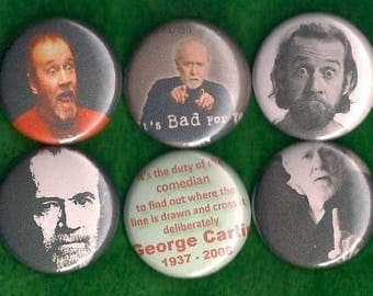 "George Carlin 1"" Pins Buttons Badges X 6 Stand Up Comic Comedian Dirty Words"