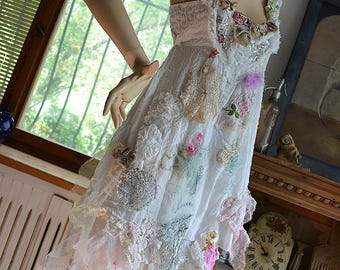 RESERVED Unique Lovely Feminine Romantic Delicate Lots of Laces WHITE DRESS  Fairy Gipsy Old Doilies Antoinette Boho Tattered