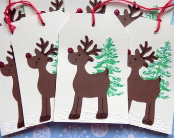 Reindeer Tags - Rudolph - Red Nose Reindeer - Shiny Nose - Ho Ho Ho - Merry Christmas - gift/hang Tags (8)
