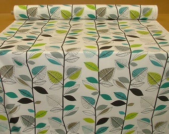 "Teal Fabric Green Grey Black White Funky UK Cotton Fabric by the Yard  Metre (39"" x 56"") PLENTY in STOCK"