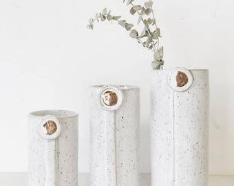 vase home decor Handmade ceramic planter garden in speckled white and gold