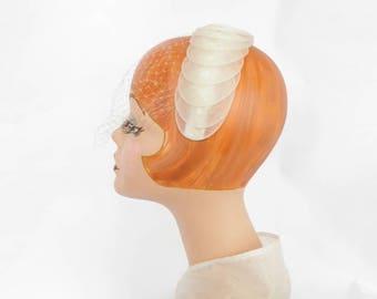 White bride headband, vintage tulle, wedding veil, New Old Stock