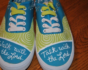 For Sale Christian shoes hand painted size 6 walk with the lord, talk with the lord