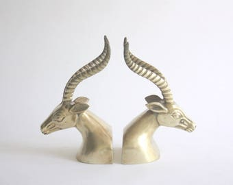 Pair of Vintage Brass Antelope Bookends