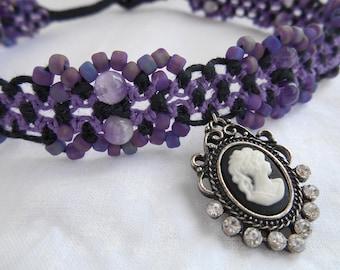 Divine Thought, modern macrame choker, macrame choker, amethyst jewelry, metaphysical jewelry, choker, purple choker, cameo pendant