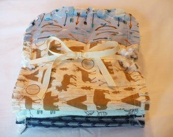 Baby Boy Rag Quilt Burp Cloths Set of 3 Baby Boy Burp Towels Tribal Arrows Woodland Forest Animals Deer Navy Aqua Tan Baby Shower Gift
