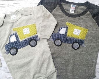 All boy raglan tee, thanksgiving boy, thanksgiving baby, trucks,blue truck t shirt, truck birthday