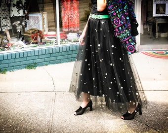 1970's Black Tulle Full Skirt with Silver Sequins