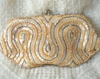 """Vintage 50s Bridal Wedding Beaded Handbag Clutch Cocktail Purse Ivory """"Pearls Sequins & Beads Theater Costume Japan David's Import Prom"""