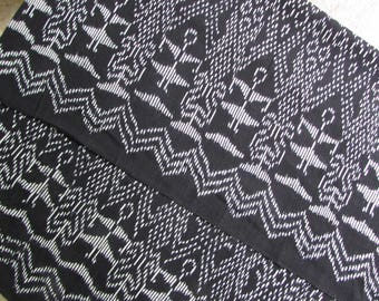 Guatemalan Ikat Fabric Black with White Border Print With Ovals