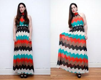 Vintage 90's Tribal Aztec High Neck Abstract Maxi Dress