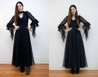 Vintage Jean Varon Bohemian Caftan Kaftan Bell Sleeve Dress Angel Wing Maxi Dress RARE