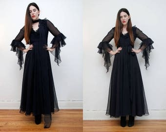 FREE SHIPPING Jean Varon Bohemian Caftan Kaftan Bell Sleeve Dress Angel Wing Maxi Dress RARE