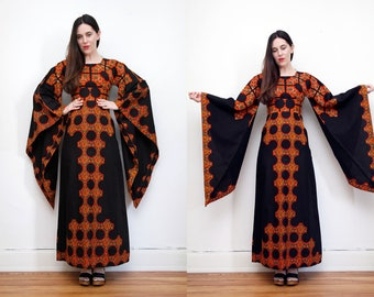 Vintage Indian Cotton Batik Hippie Angel Sleeve Kimono Kaftan Dramatic  Boho Maxi Dress 70's
