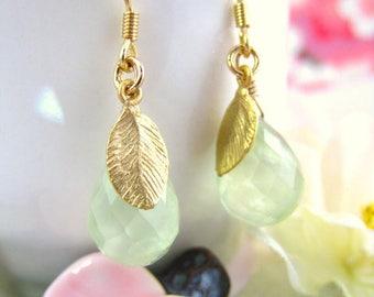 Light green prenite pear leaf dangle earrings, gold and green prenite tear drop earrings