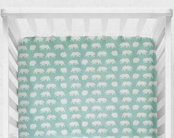 Bear Crib Sheet, Bear Hike, toddler sheet, gender neutral baby bedding